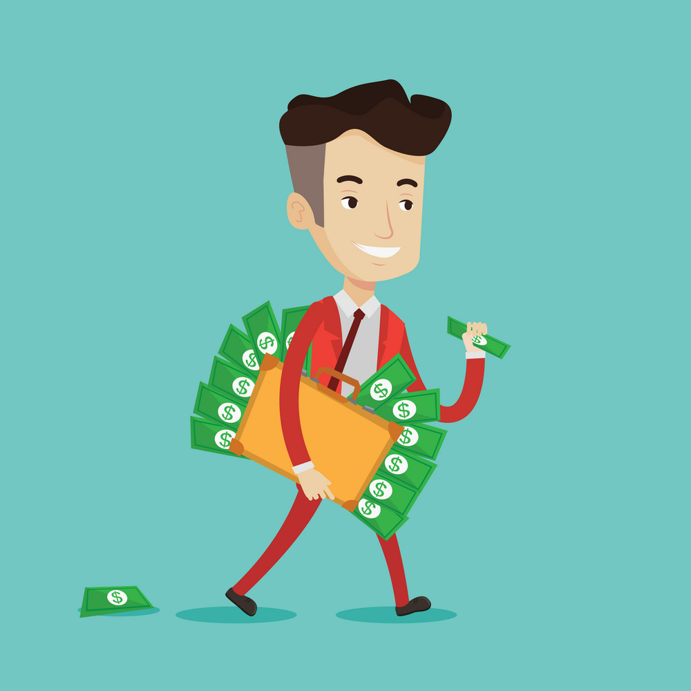 A happy businessman walking with suitcase full of money. Smiling businessman holding briefcase full of money. Businessman with money in his bag. Vector flat design illustration. Square layout.