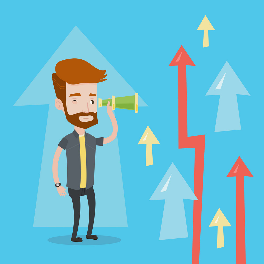 A hipster businessman looking through spyglass on arrows going upward. Young businessman looking for business opportunities. Concept of business vision. Vector flat design illustration. Square layout.