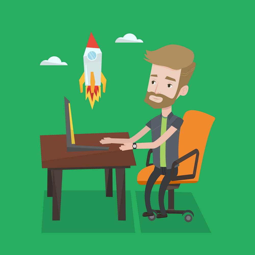 A hipster businessman with the beard sitting at the table and looking at a flying rocket. Businessman working on a laptop. Business start up concept. Vector flat design illustration. Square layout.