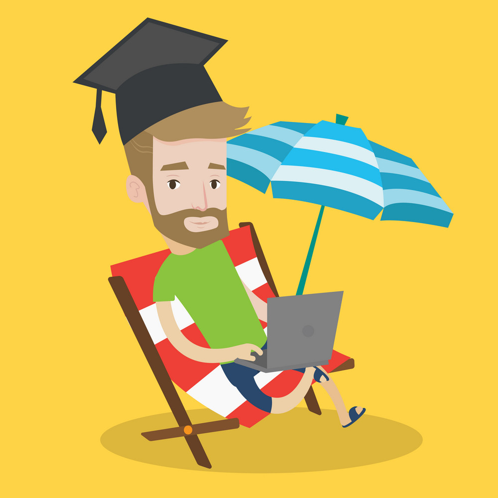 A hipster graduate lying in chaise longue. Graduate in graduation cap working on laptop. Graduate studying on a beach. Concept of online education. Vector flat design illustration. Square layout.