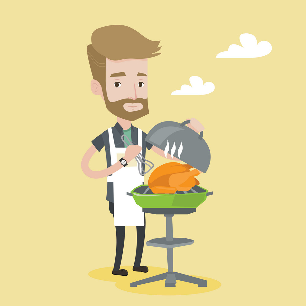 A hipster man with the beard cooking chicken on barbecue grill outdoors. Young man having a barbecue party. Man preparing chicken on barbecue grill. Vector flat design illustration. Square layout.