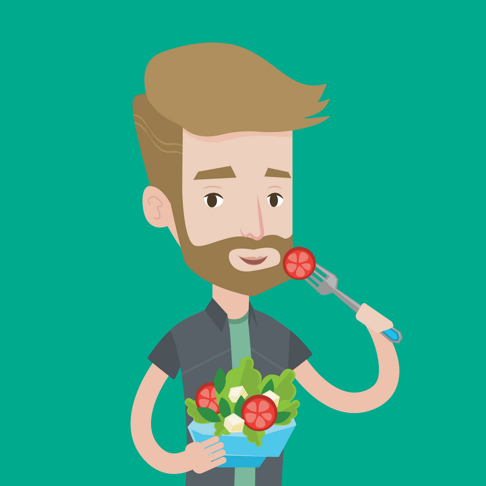 A hipster man with the beard eating healthy vegetable salad. Young man enjoying fresh vegetable salad. Man holding fork and bowl full of organic salad. Vector flat design illustration. Square layout.