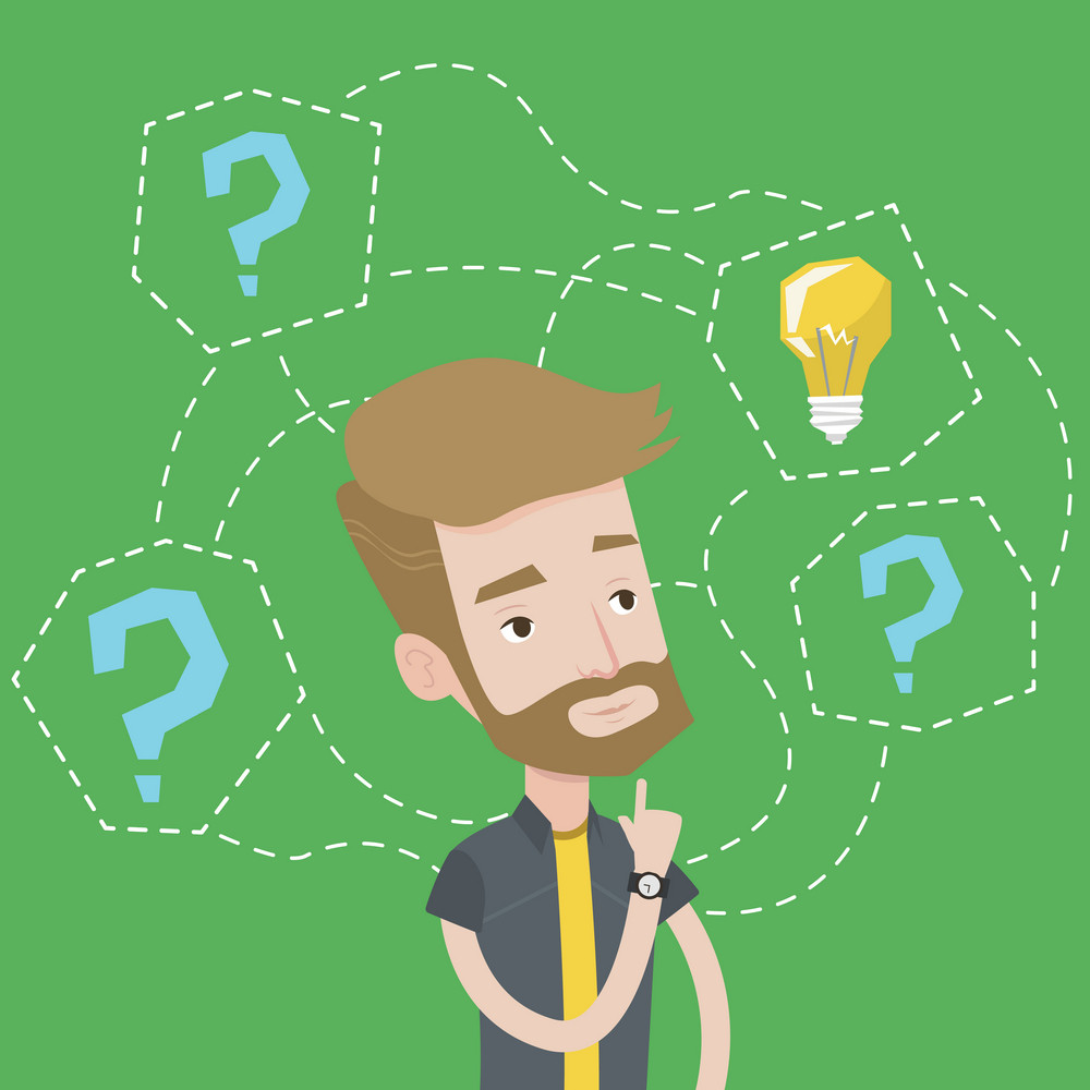 A hipster man with the beard having business idea. Young businessman standing with question marks and light bulb above his head. Business idea concept. Vector flat design illustration. Square layout.