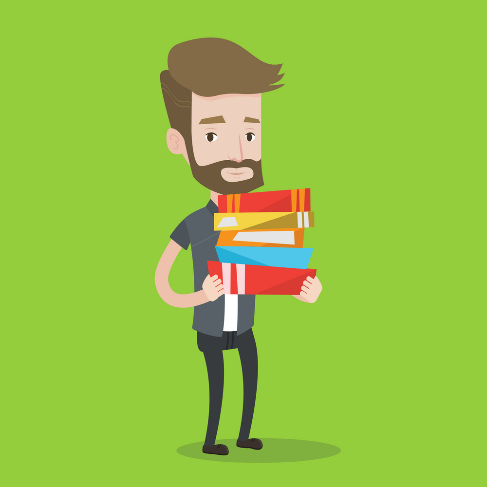 A hipster man with the beard holding a pile of educational books in hands. Smiling student carrying huge stack of books. Concept of education. Vector flat design illustration. Square layout.