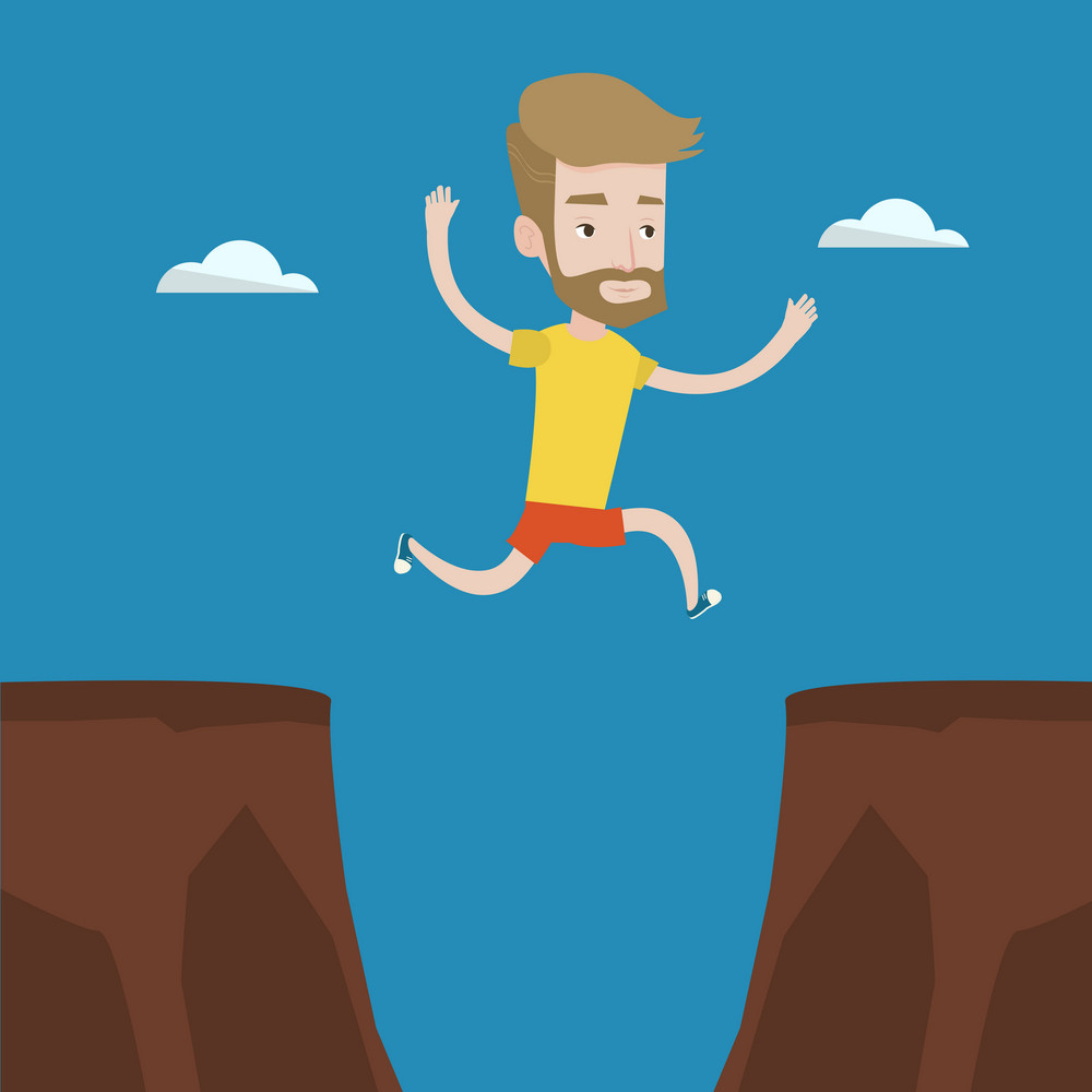 A hipster man with the beard jumping across the gap from one rock to another. Young caucasian sportsman jumping over rocks with gap. Vector flat design illustration. Square layout.