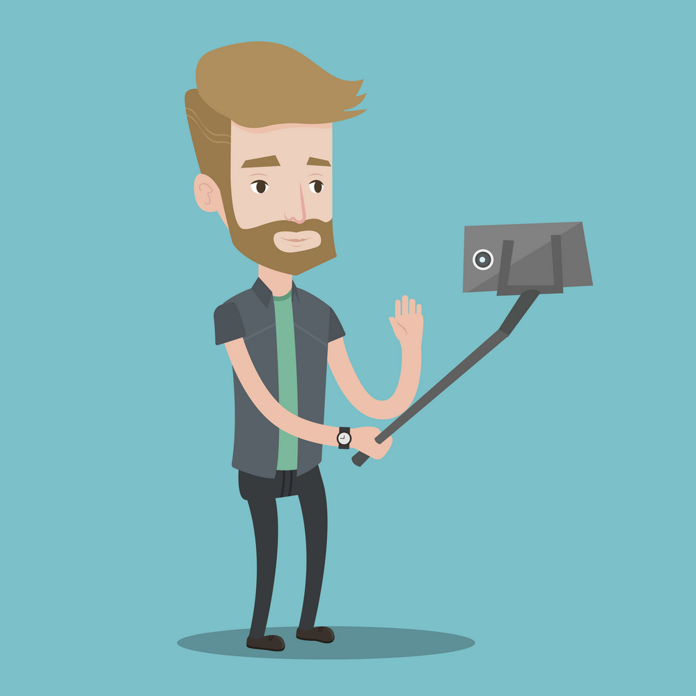 A hipster man with the beard making selfie with a selfie-stick. Smiling man taking photo with cellphone. Young man taking selfie and waving his hand. Vector flat design illustration. Square layout.