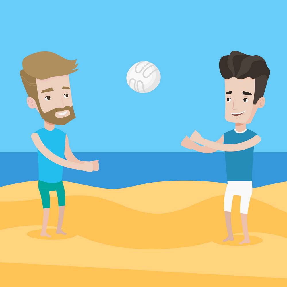 A hipster man with the beard playing beach volleyball with his friend. Two caucasian men having fun while playing beach volleyball during summer holiday. Vector flat design illustration. Square layout