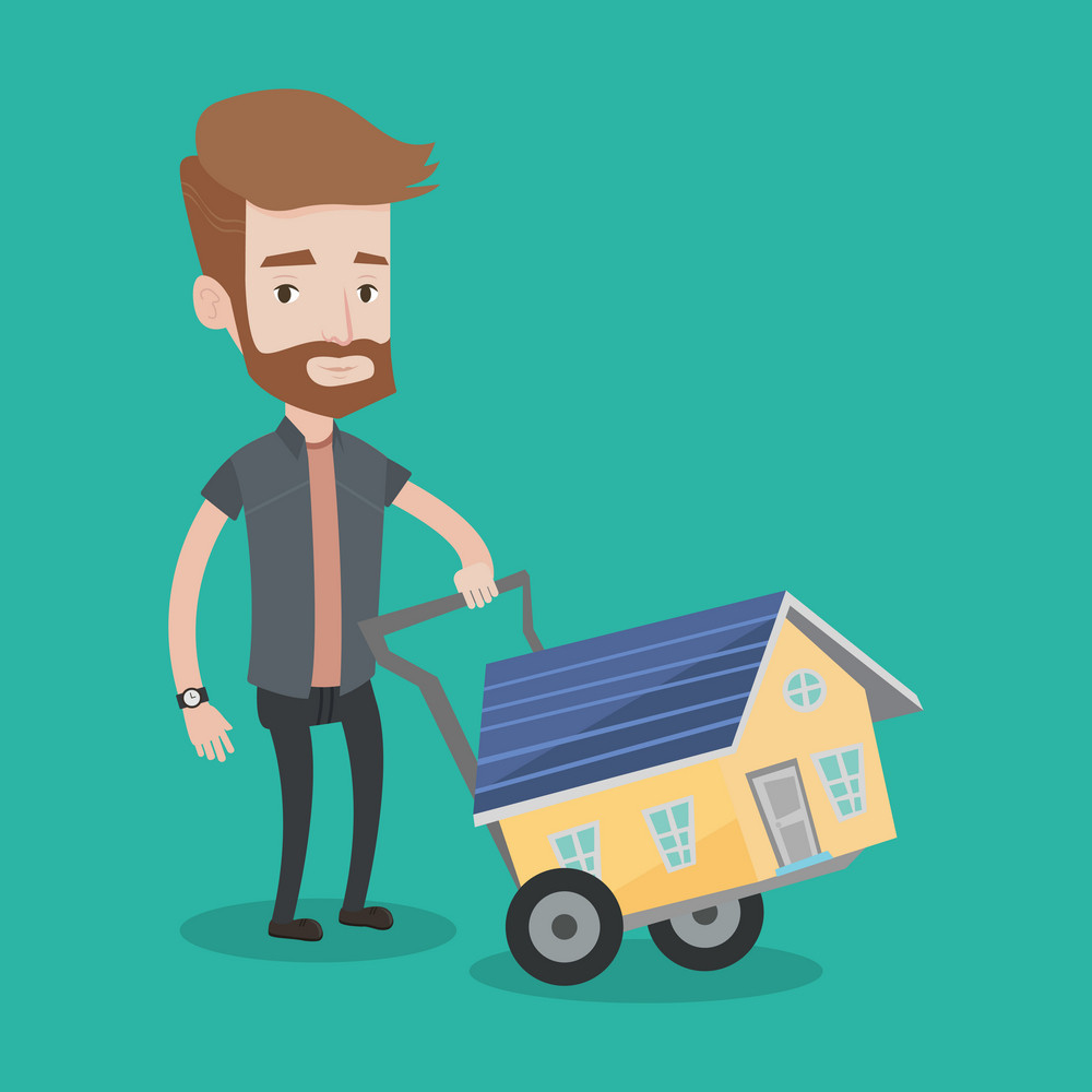 A hipster man with the beard pushing a shopping trolley with a house. Young smiling man buying home. Man using shopping trolley to transport house. Vector flat design illustration. Square layout.