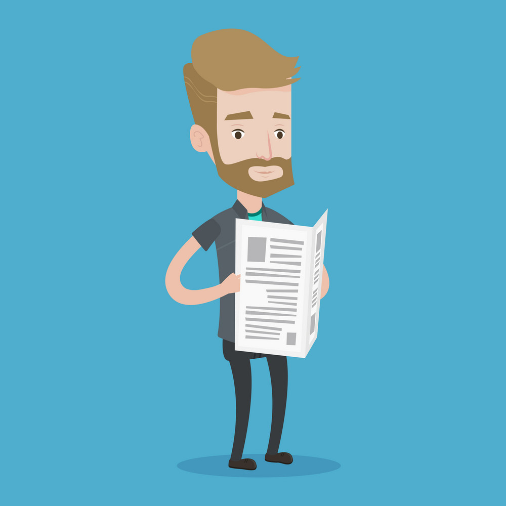 A hipster man with the beard reading the newspaper. Young smiling man reading good news. Man standing with newspaper in hands. Vector flat design illustration. Square layout.