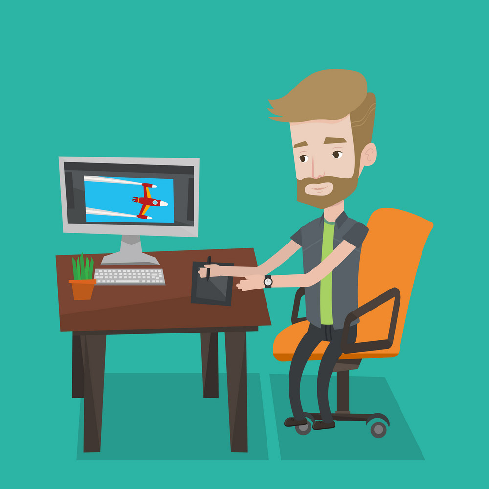 A hipster man with the beard sitting at desk and drawing on graphics tablet. Young graphic designer using a digital graphics tablet, computer and pen. Vector flat design illustration. Square layout.