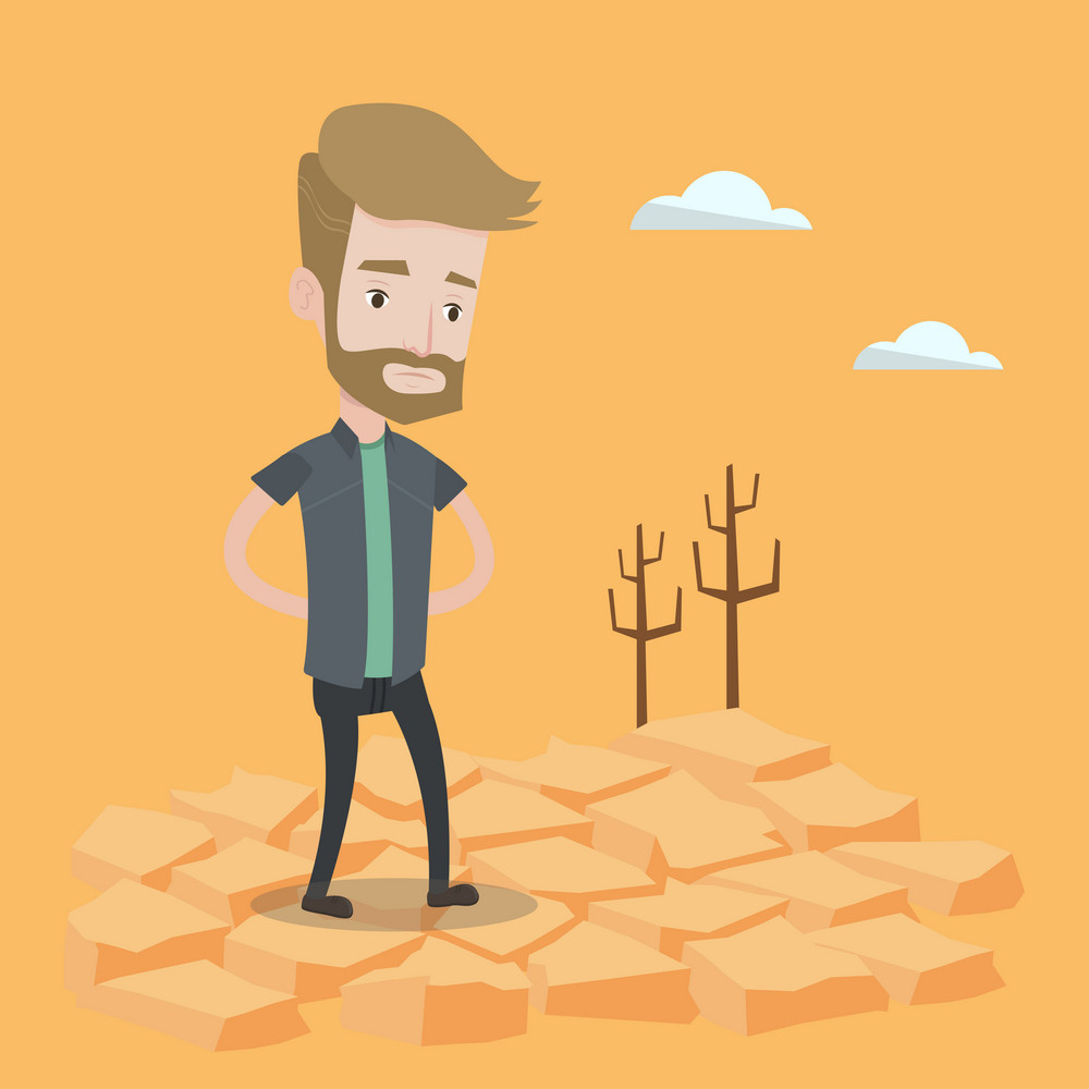 A hipster man with the beard standing in the desert. Frustrated young man standing on cracked earth. Concept of climate change and global warming. Vector flat design illustration. Square layout.