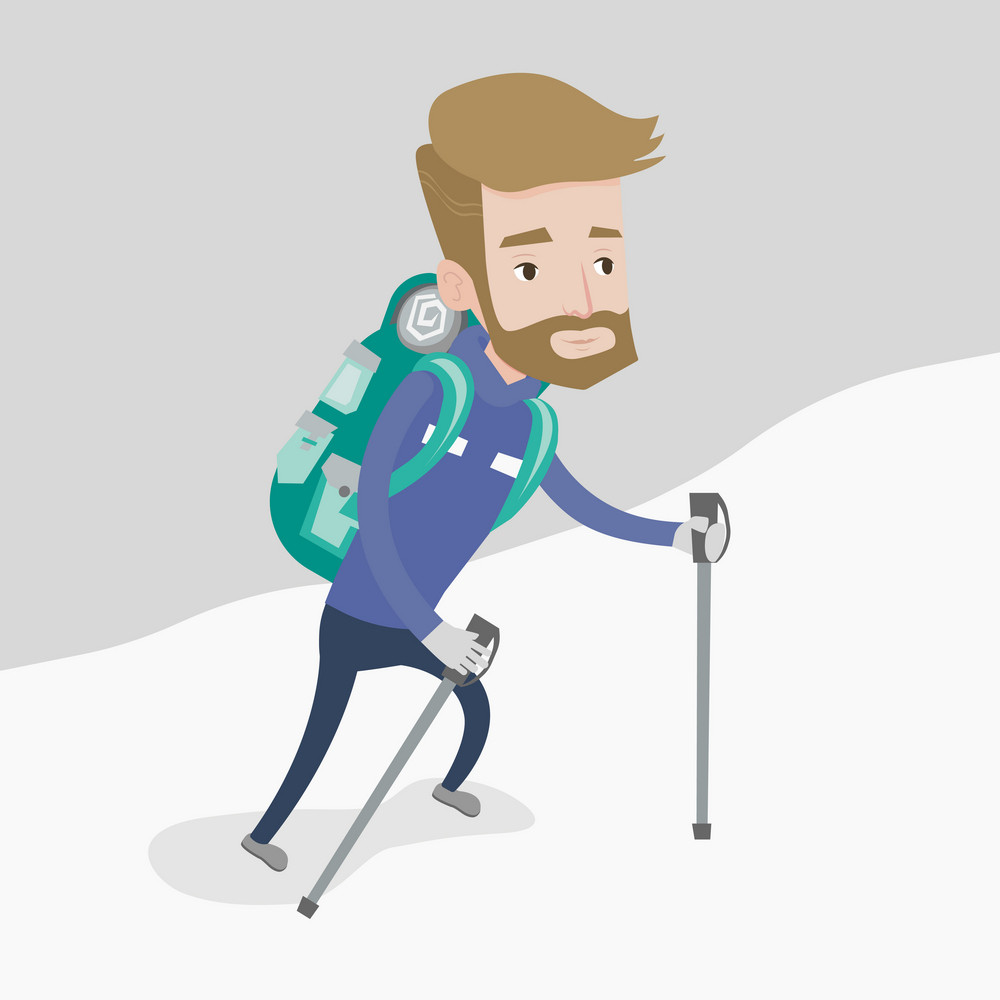 A hipster mountaneer with the beard climbing a snowy ridge. Young hiker climbing a mountain. Mountaineer with backpack walking up along a snowy ridge. Vector flat design illustration. Square layout.