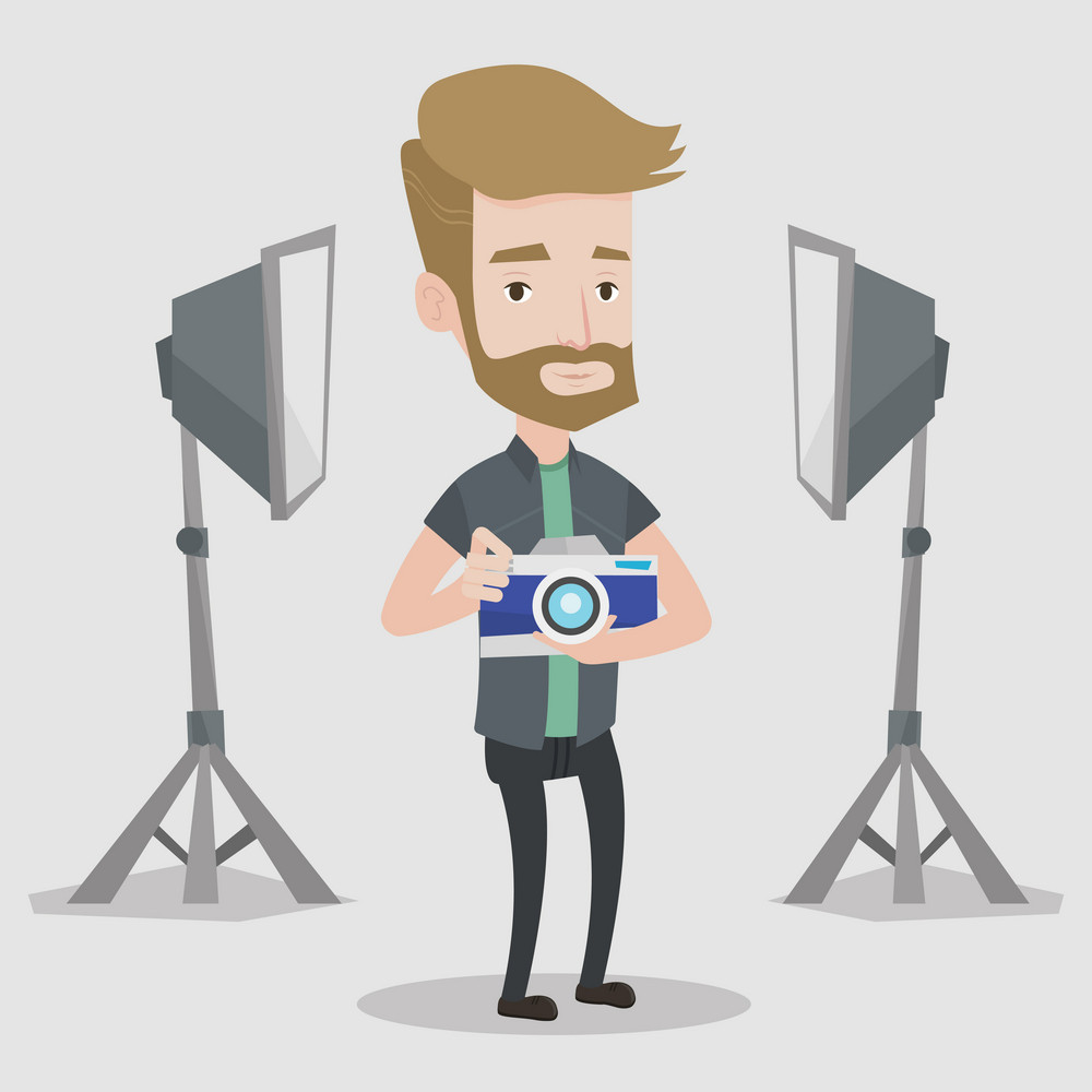 A hipster photographer with the beard holding a camera in photo studio. Photographer using professional camera in the studio. Young man taking a photo. Vector flat design illustration. Square layout.