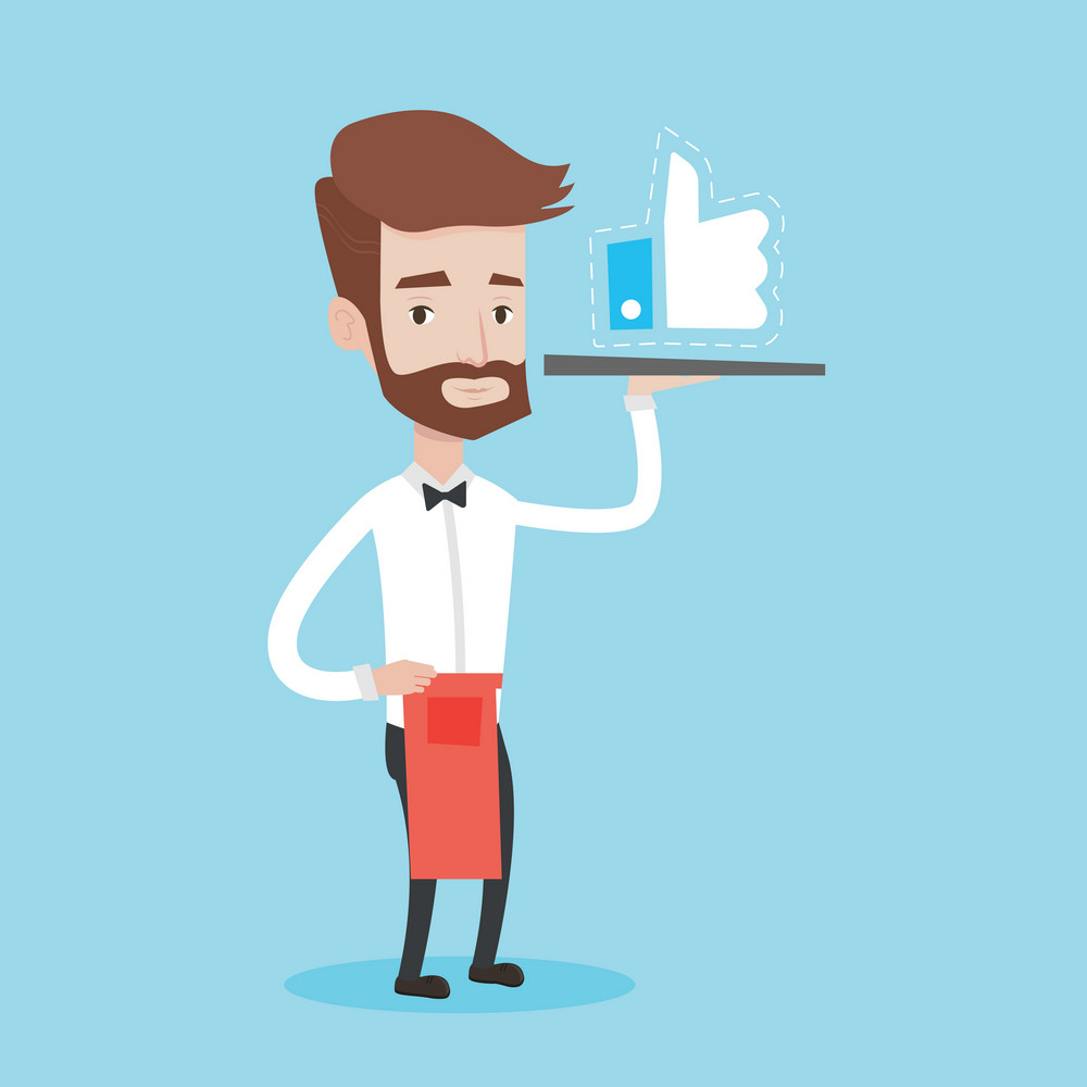 A hipster waiter with the beard carrying tray with like button. Waiter holding restaurant tray with like button. Waiter with social network button. Vector flat design illustration. Square layout.