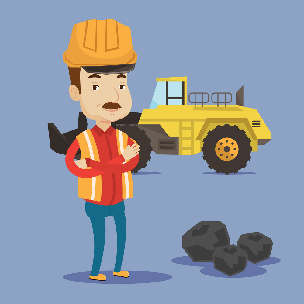 A miner in hard hat standing in front of a big excavator. Miner with crossed arms standing near coal. Vector flat design illustration. Square layout.