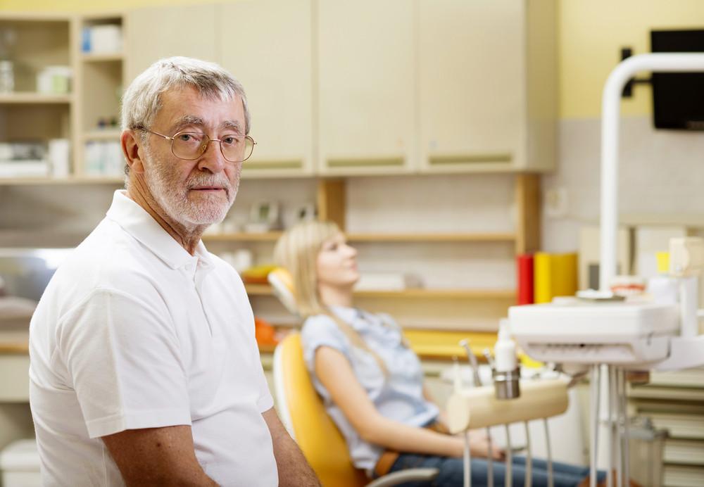 A professional dentist portrait in the dental ambulance