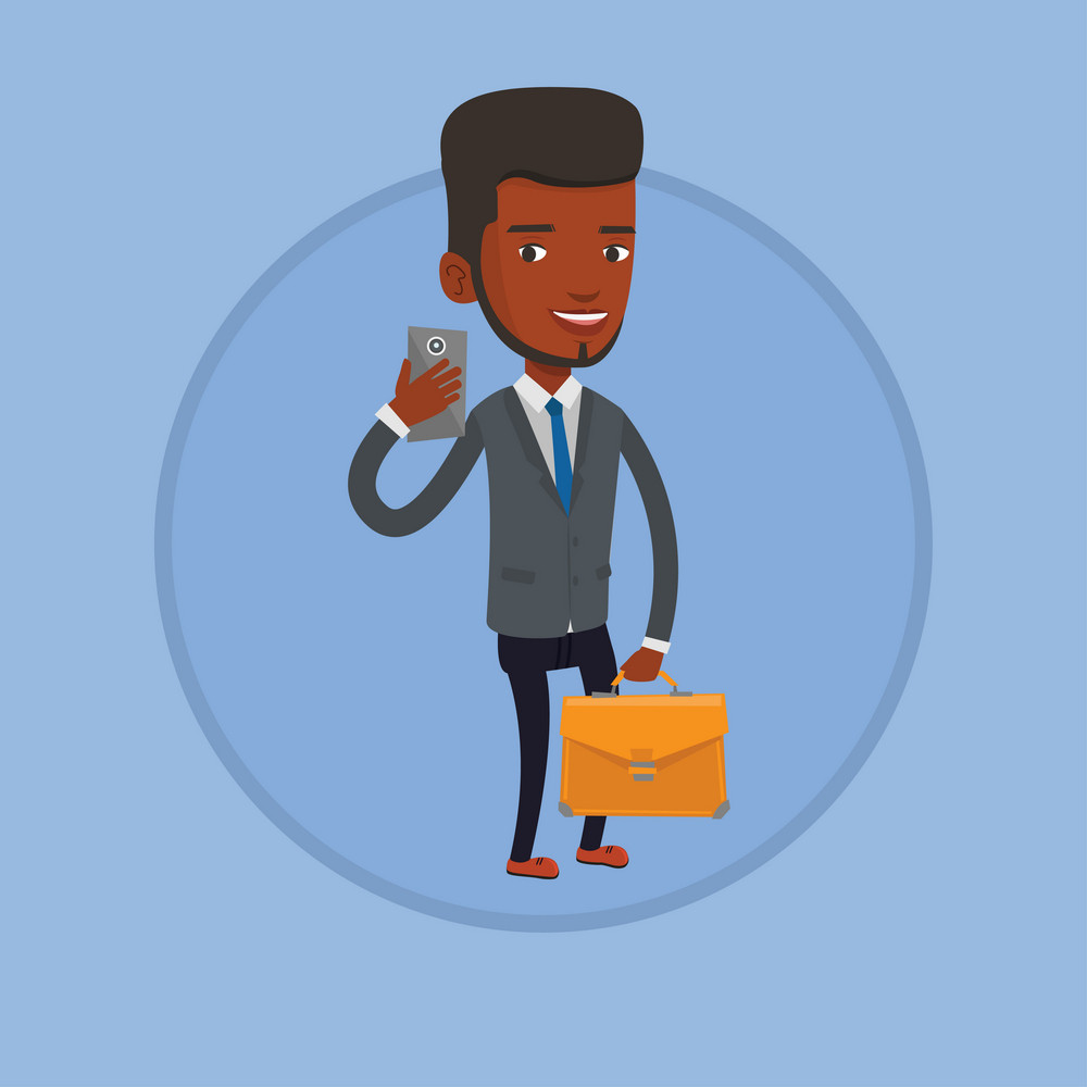 Aafrican business man making selfie. Man in suit making selfie with cellphone. Businessman looking at phone and making selfie. Vector flat design illustration in the circle isolated on background