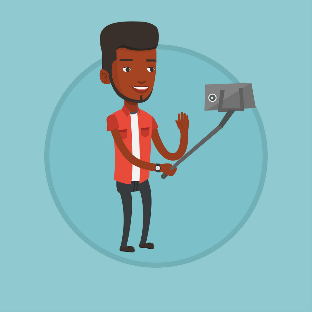 Aafrican man making selfie with a selfie-stick. Man making selfie with cellphone. Young man making selfie and waving his hand. Vector flat design illustration in the circle isolated on background.