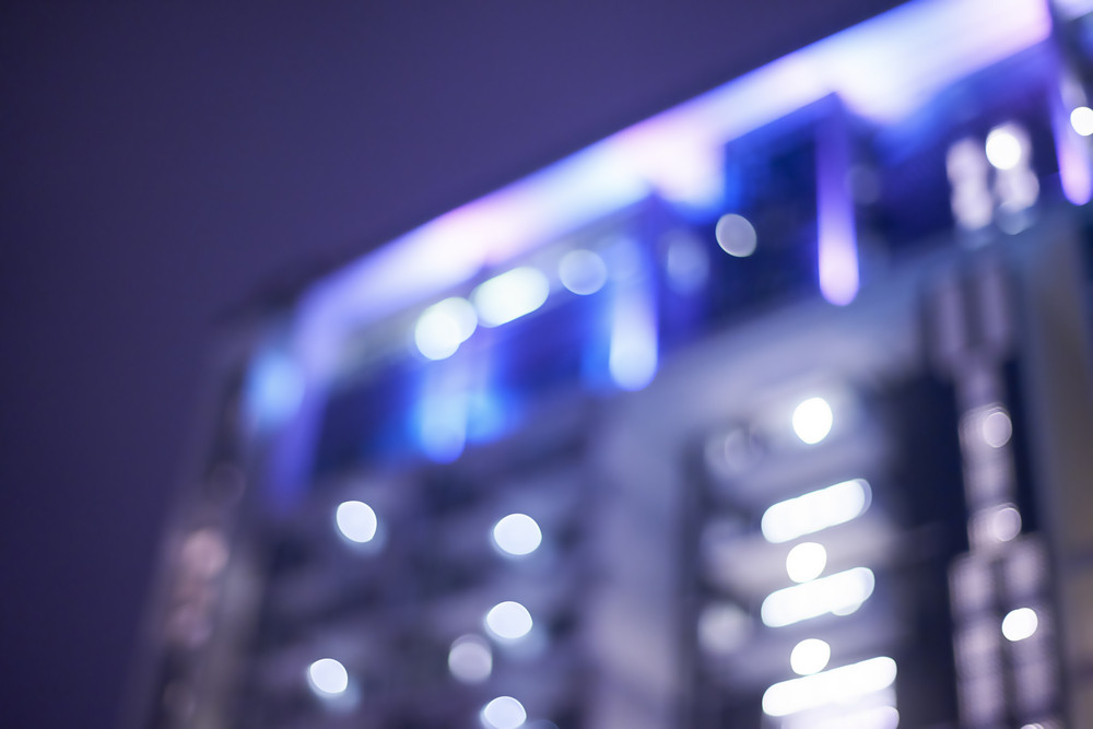 Abstract building night light bokeh , defocused background