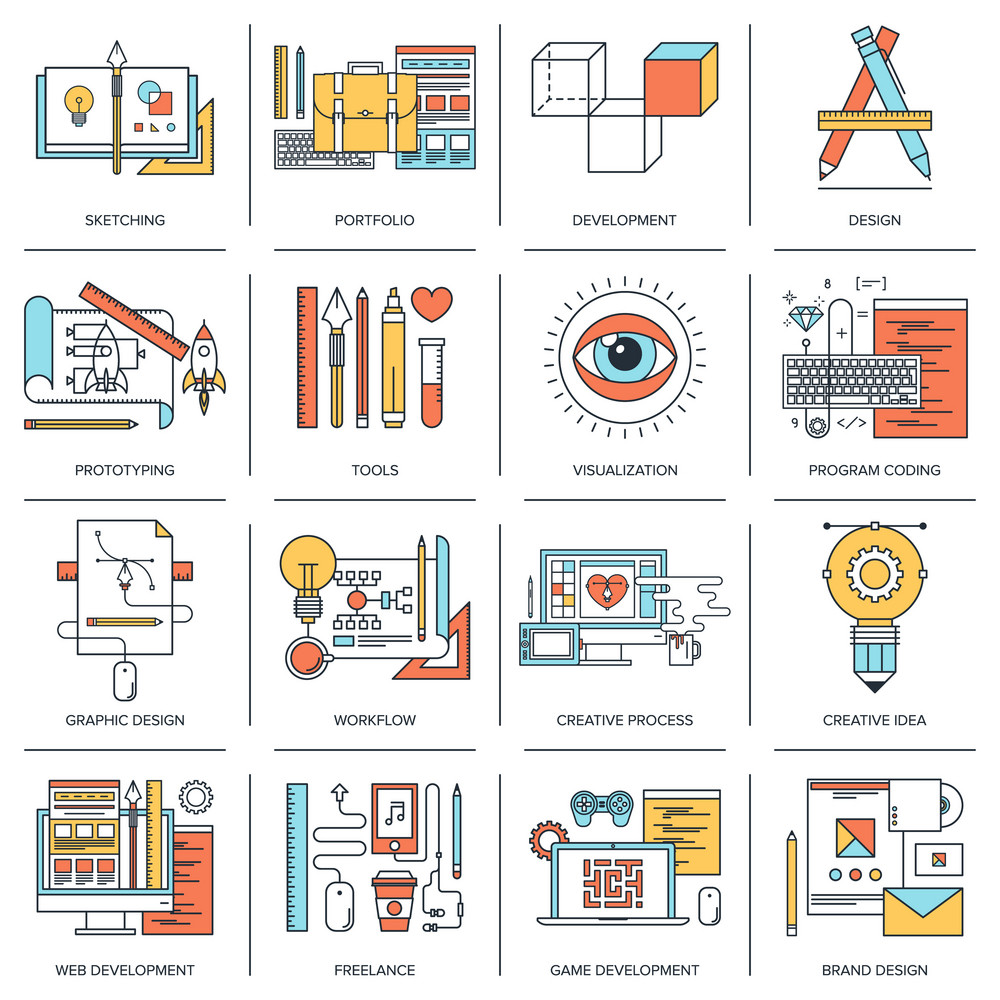 Abstract flat line vector illustration of design and development concepts. Elements for mobile and web applications.