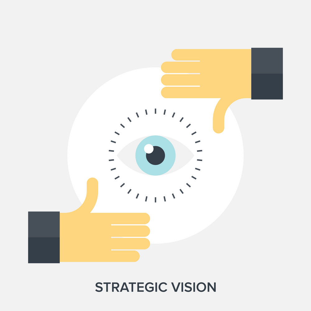 Abstract flat vector illustration of strategic vision concepts.