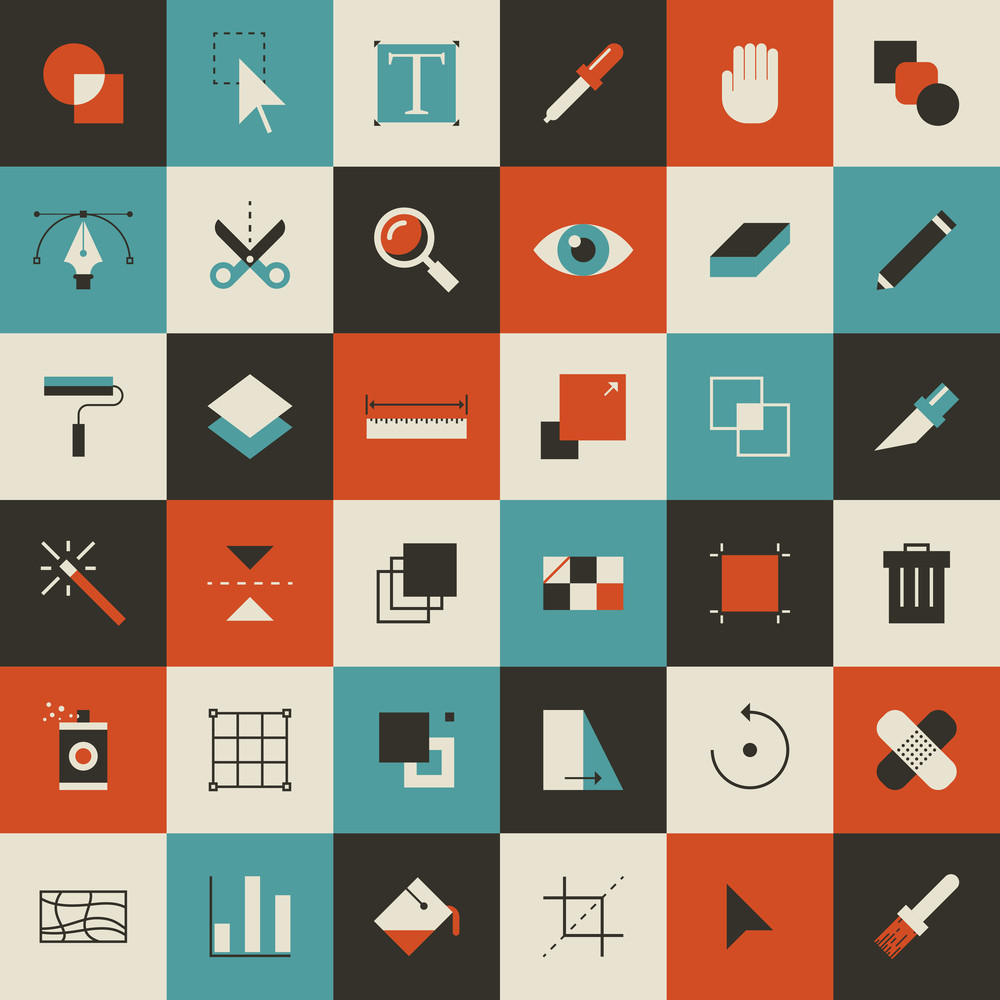 Abstract flat vector illustration of tools for design application.