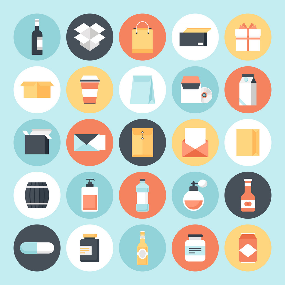 Abstract flat vector package icons. Design elements for mobile and web applications.