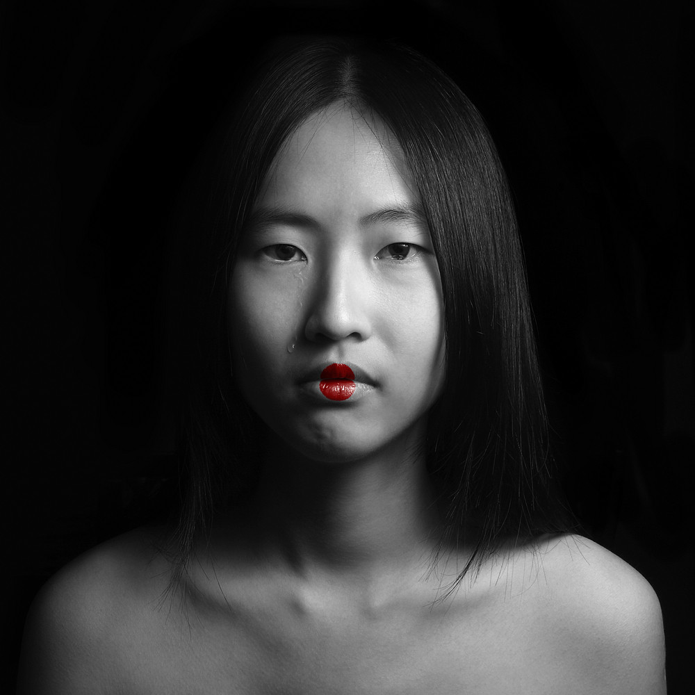 Abstract Geisha look beautiful girl crying. Black and white .