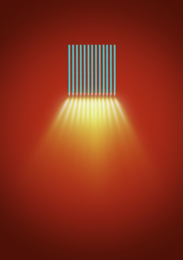 Abstract of color pencil spotlights