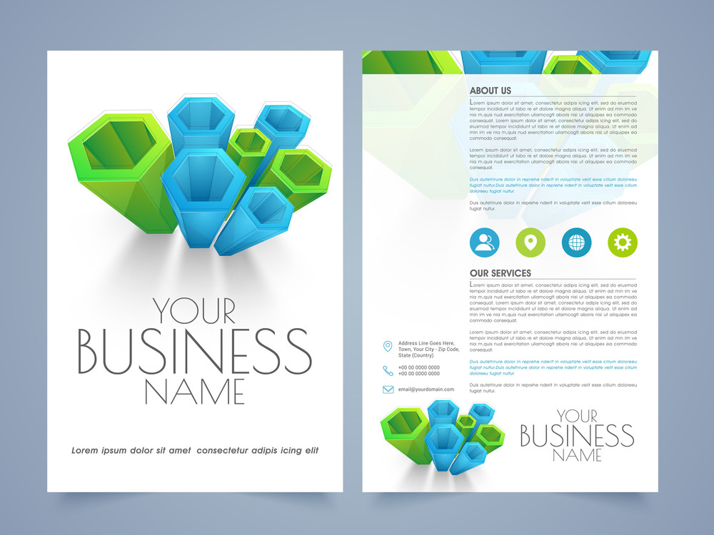 Abstract Two Pages Business Flyer Template Or Brochure Design For - Brochure template for pages