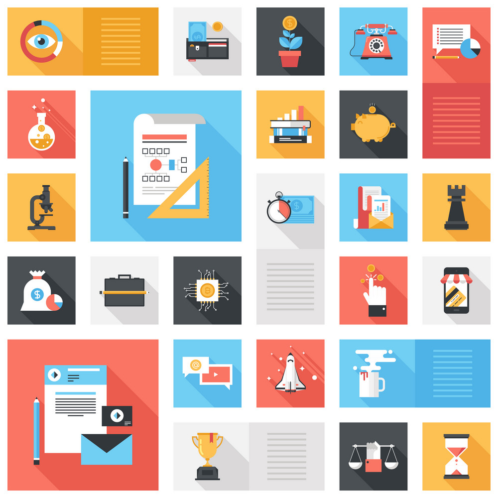 Abstract vector collection of colorful flat business and finance icons with long shadow. Design elements for mobile and web applications.