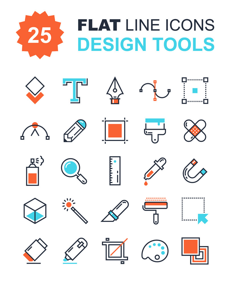 Abstract vector collection of flat line design tools icons. Elements for mobile and web applications.