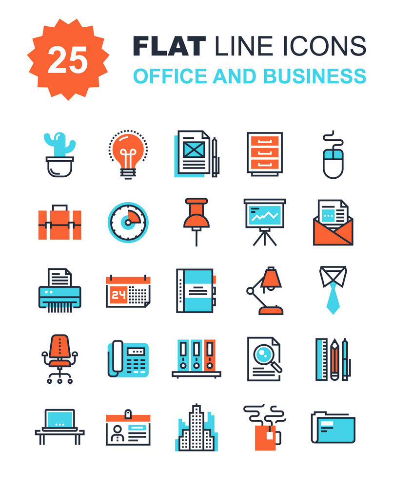 Abstract vector collection of flat line office and business icons. Elements for mobile and web applications.
