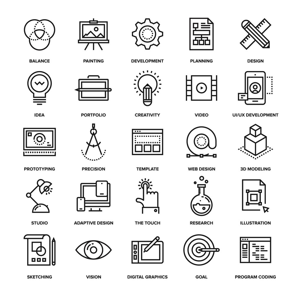 Abstract vector collection of line design and development icons. Elements for mobile and web applications.