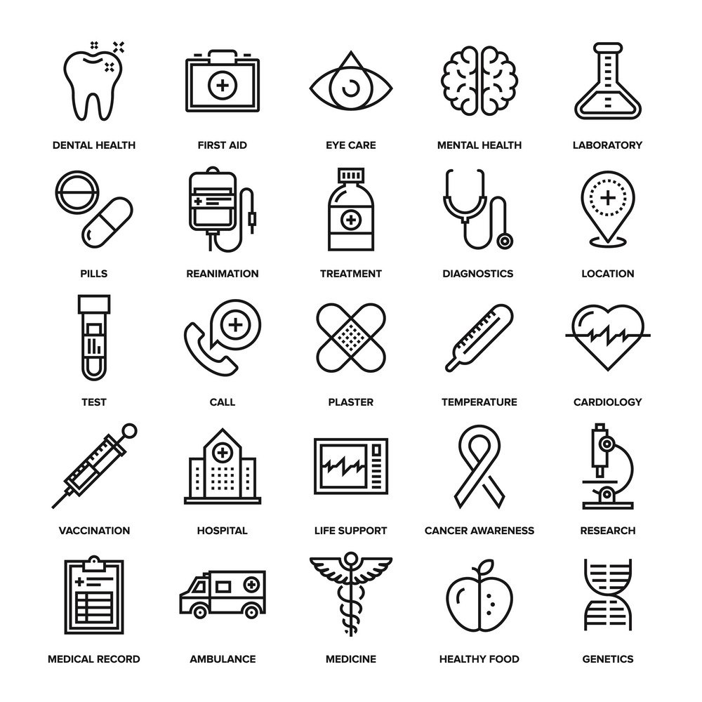 Abstract vector collection of line healthcare and medicine icons. Elements for mobile and web applications.