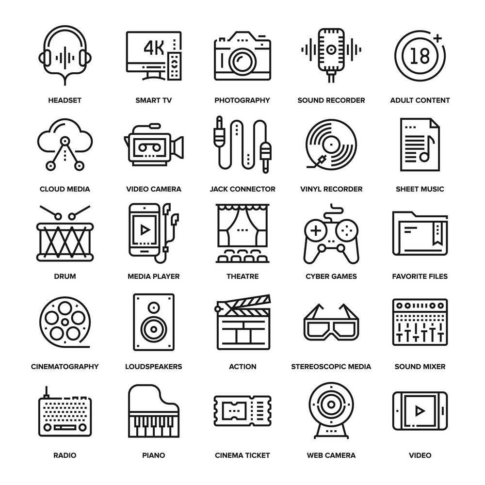 Abstract vector collection of line media and entertainment icons. Elements for mobile and web applications.