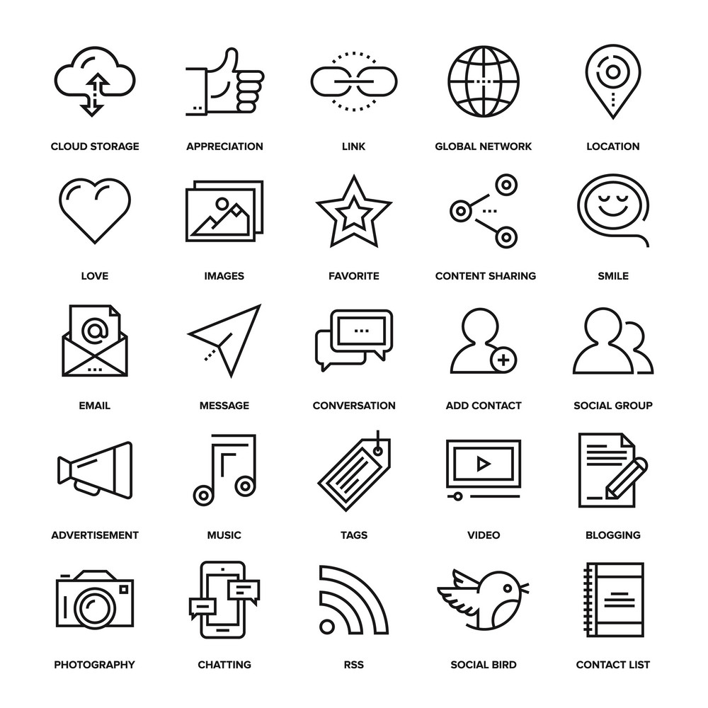 Abstract vector collection of line social media icons. Design elements for mobile and web applications.