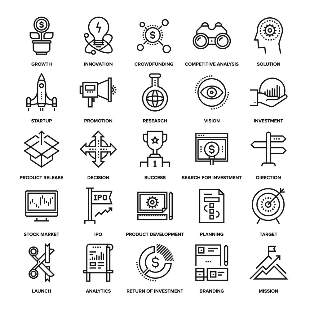 Abstract vector collection of line startup and new business icons. Elements for mobile and web applications.