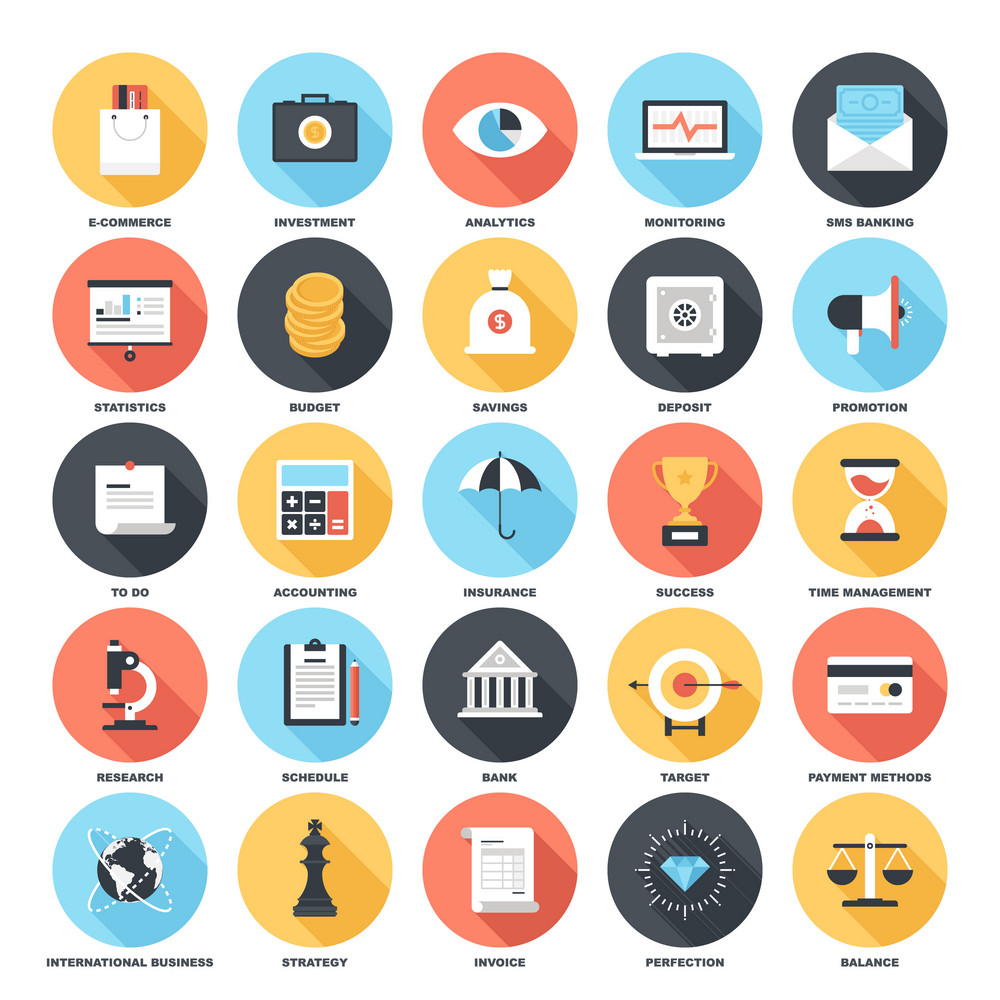 Abstract vector set of colorful flat business and finance icons with long shadow. Concepts and design elements for mobile and web applications.