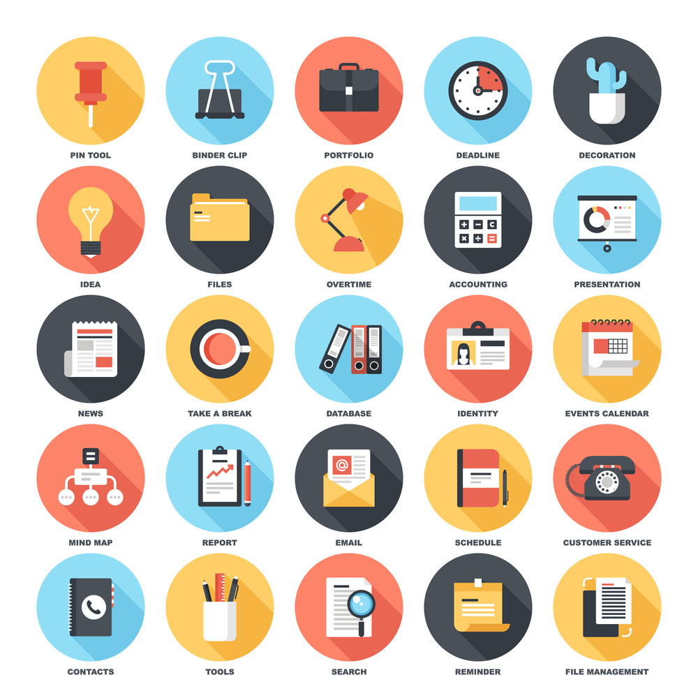 Abstract vector set of colorful flat business and office icons with long shadow. Concepts and design elements for mobile and web applications.