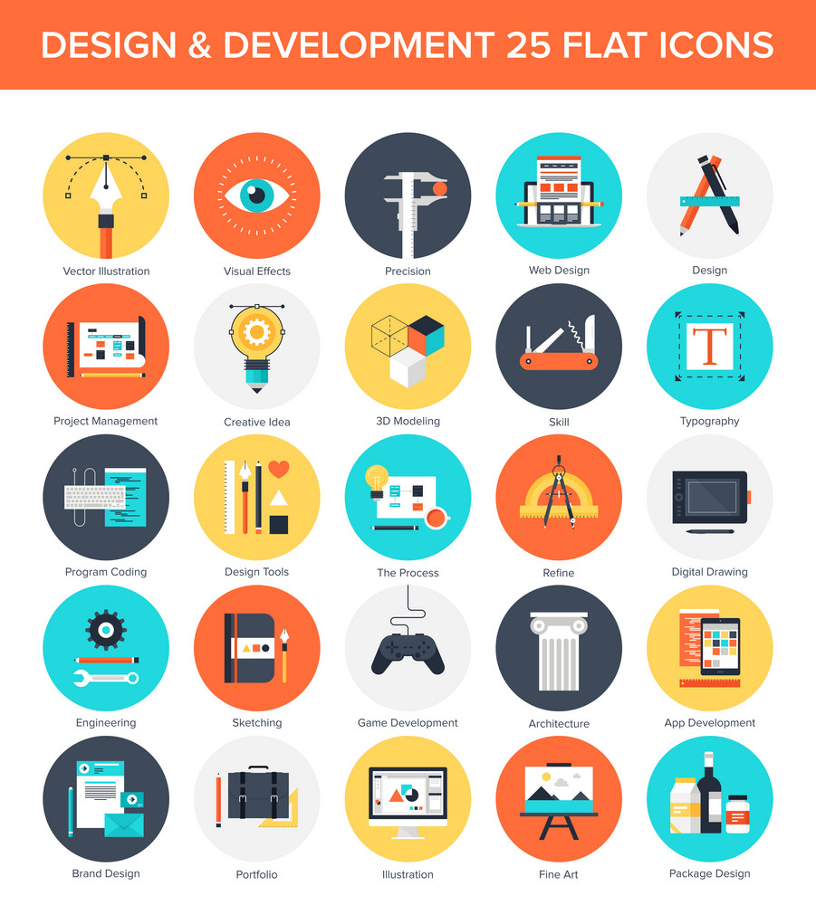Abstract vector set of colorful flat design and development icons. Design elements for mobile and web applications.