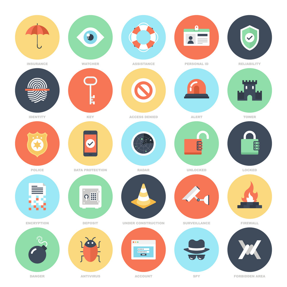 Abstract vector set of colorful flat security and protection icons. Creative concepts and design elements for mobile and web applications.