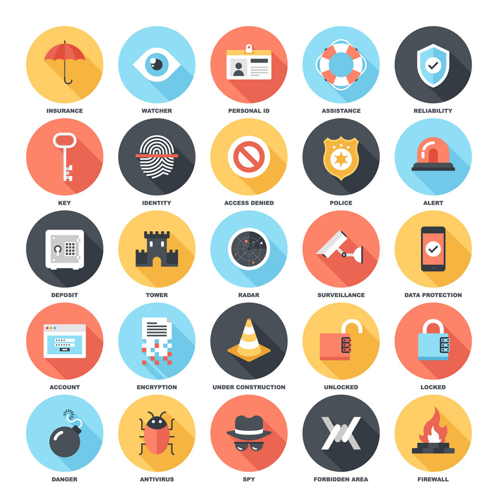 Abstract vector set of colorful flat security and protection icons with long shadow. Concepts and design elements for mobile and web applications.