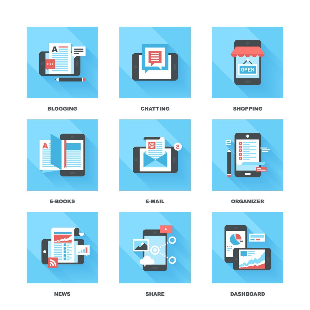 Abstract vector set of flat and colorful mobile applications and services icons.