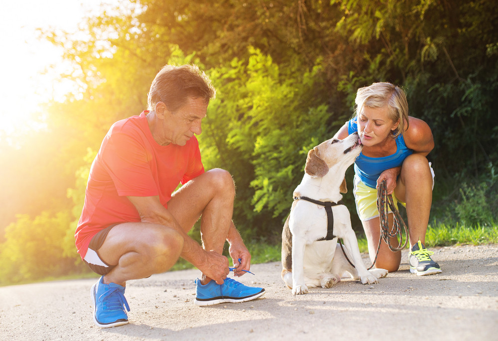 Active seniors getting ready for a run with their dog outside in green nature