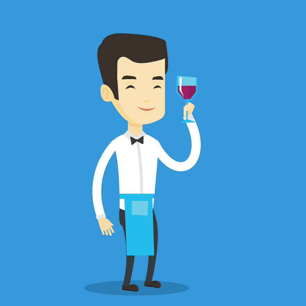 Adult bartender holding a glass of wine in hand. Bartender at work. Waiter looking at glass of red wine. Smiling bartender examining wine in glass. Vector flat design illustration. Square layout.