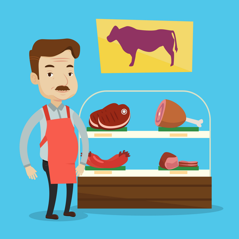 Adult caucasian salesman offering fresh meat at display in butcher shop. Butcher at work at the counter in butchery. Butcher proud of his butcher shop. Vector flat design illustration. Square layout.