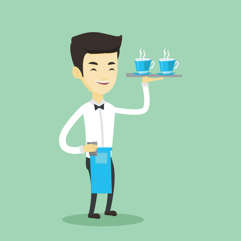 Adult smiling asian waiter holding a tray with cups of tea or coffee with steam. Friendly waiter standing with tray with cups of flavoured coffee. Vector flat design illustration. Square layout.