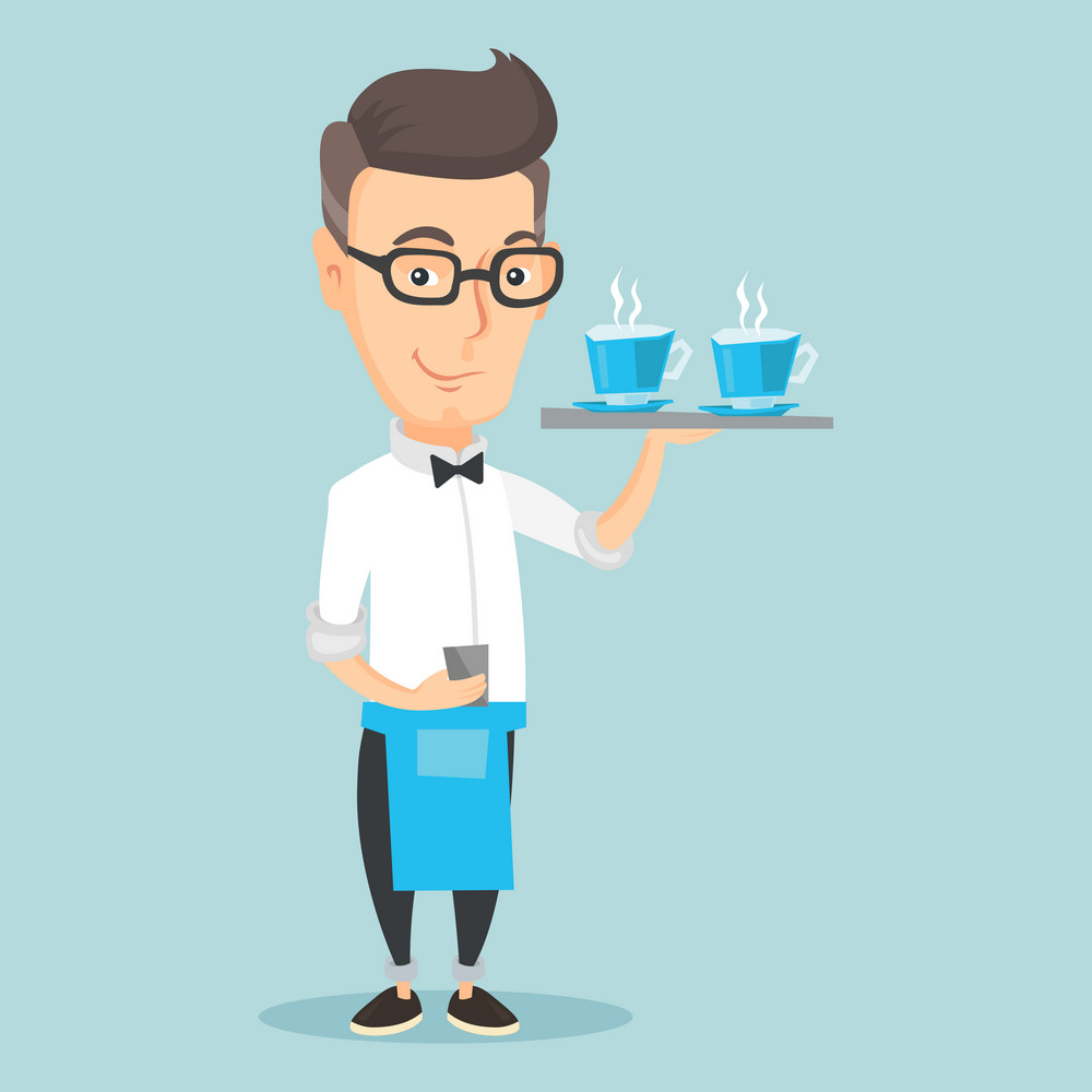 Adult smiling caucasian waiter holding a tray with cups of tea or coffee with steam. Friendly waiter standing with tray with cups of flavoured coffee. Vector flat design illustration. Square layout.