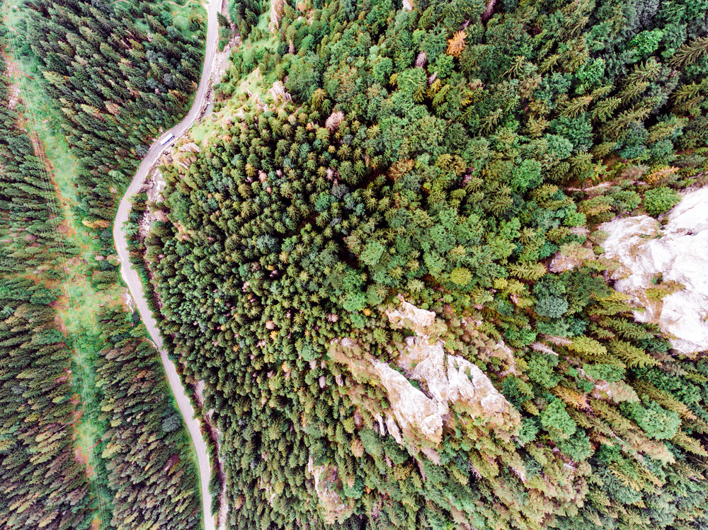 Aerial view of a road in the middle of coniferous forest, rocky hills. Mala Fatra, Slovakia.